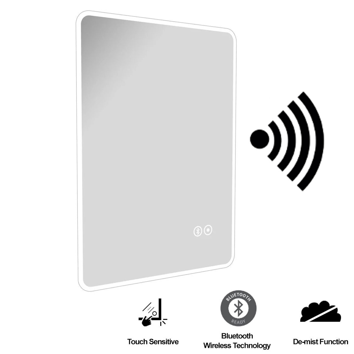 Cali LED Touch Sensor Ambient Bathroom Mirror 700mm H x 500 W with Bluetooth and De-Mist