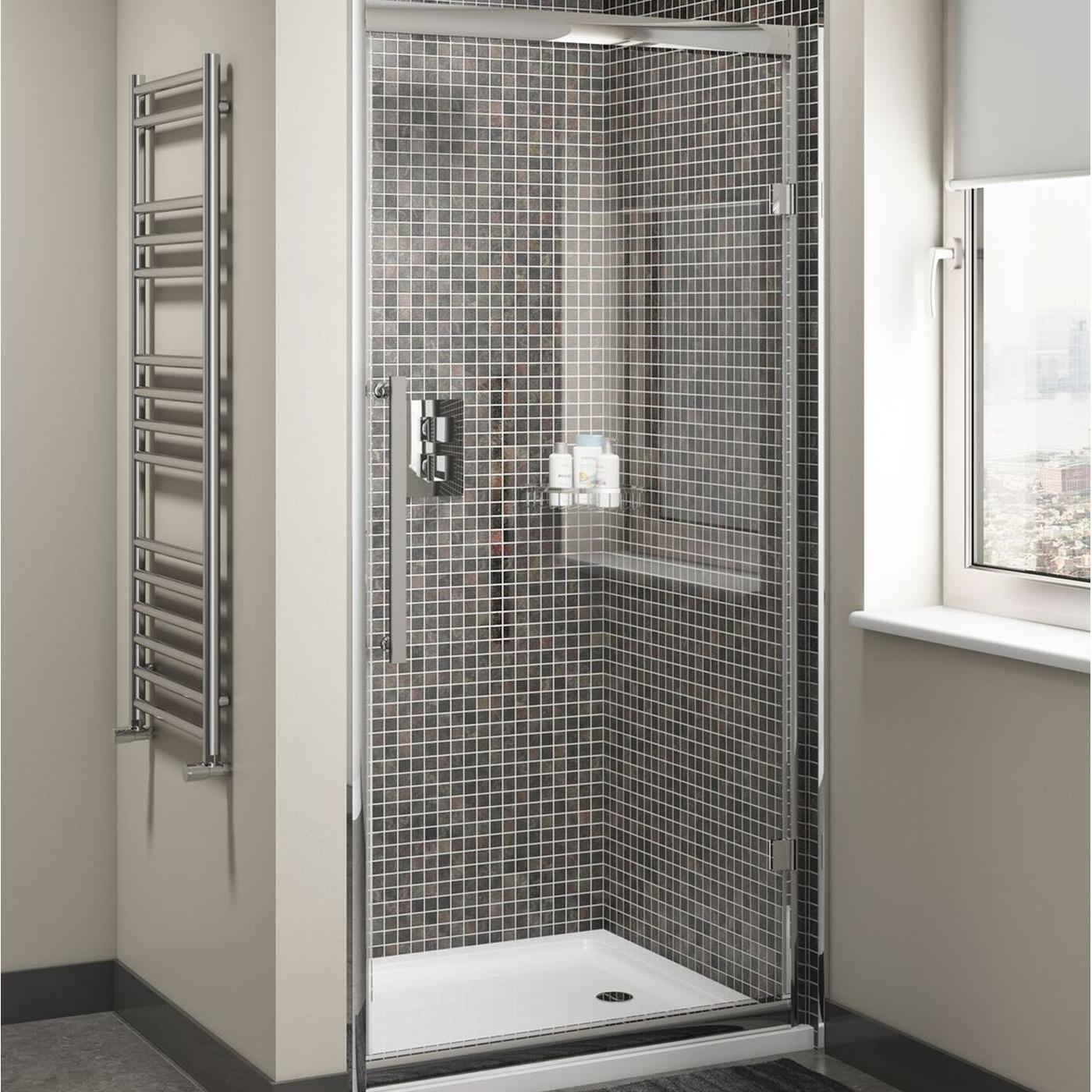 Cali Cass Eight Hinged Shower Door 700mm Wide - 8mm Glass