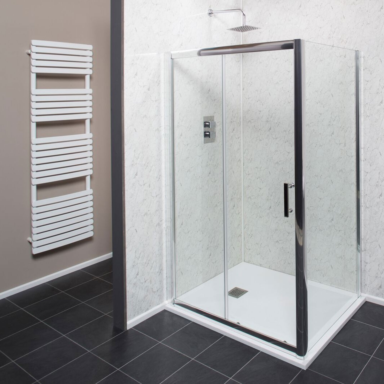 Cali Cass Six Sliding Shower Door 1000mm Wide - 6mm Glass-1