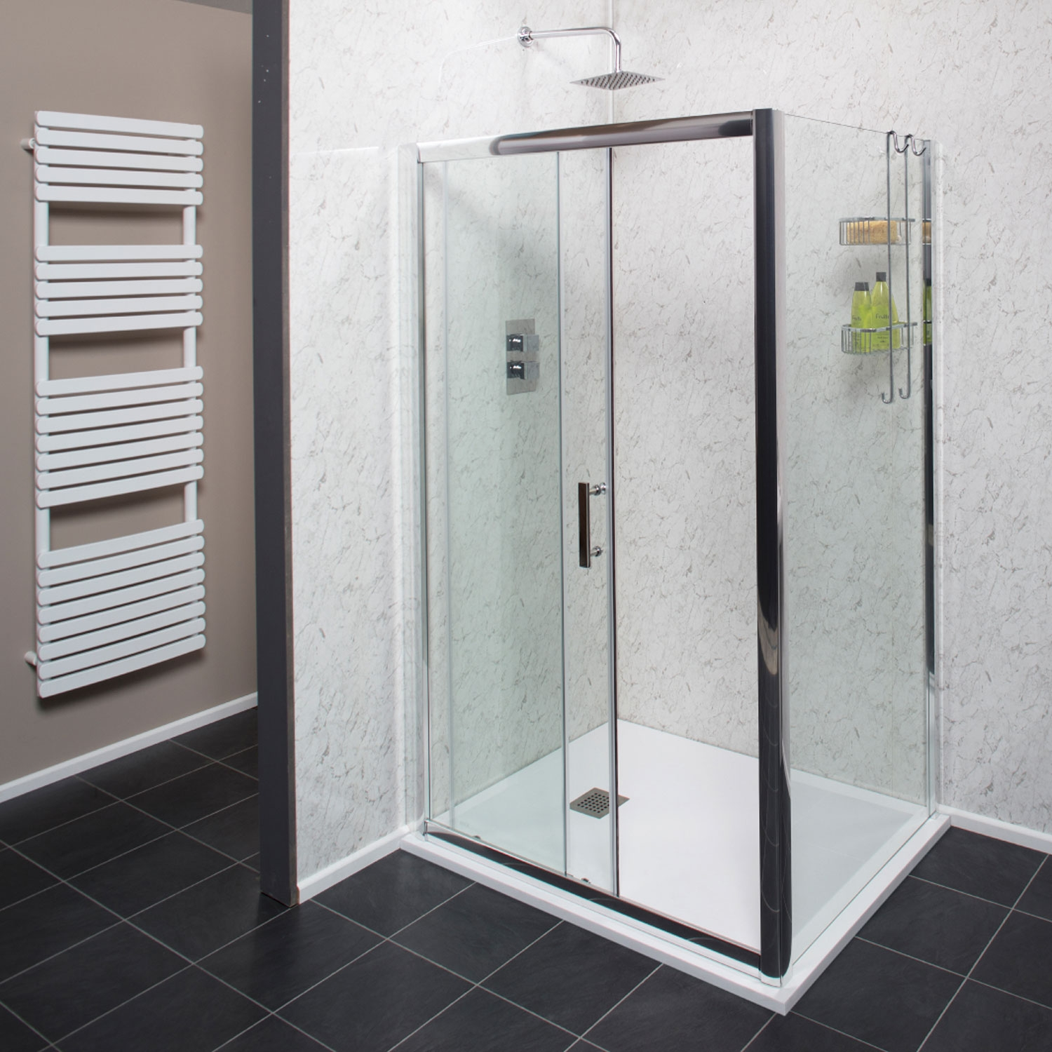 Cali Cass Six Sliding Shower Door 1100mm Wide - 6mm Glass