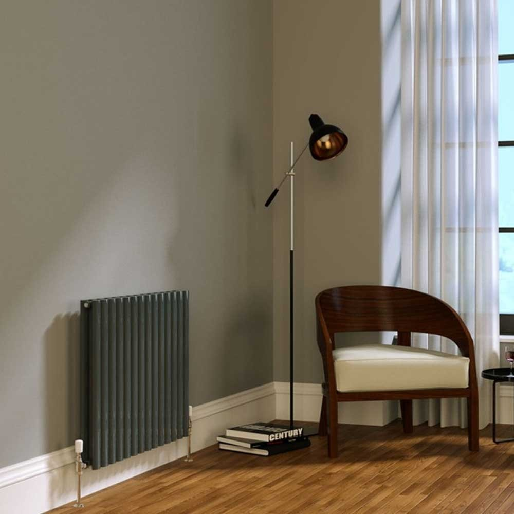 Cali Celsius Double Panel Designer Horizontal Radiator - 633mm High x 826mm Wide - Anthracite