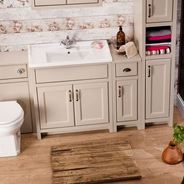 Cali Chartwell 2-Door Floor Standing Vanity Unit with Basin - 800mm Wide - Mocha