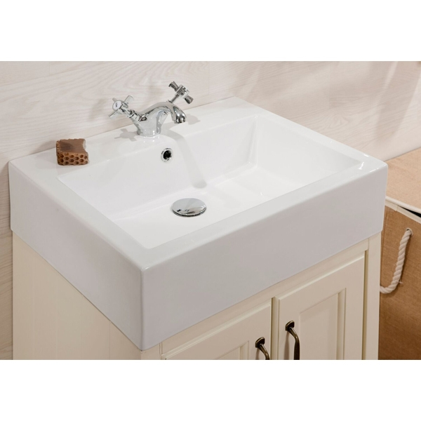 Cali Chartwell 2-Door Vanity Unit with Sit On Countertop Basin - 550mm Wide - Vanilla