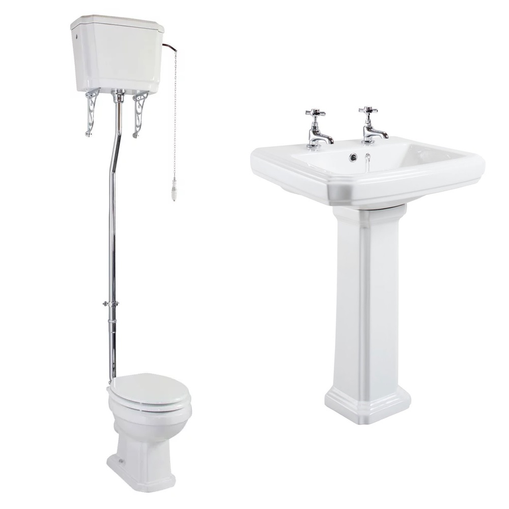 Cali Cromford Traditional Bathroom Suite High Level Toilet 2 Tap Hole