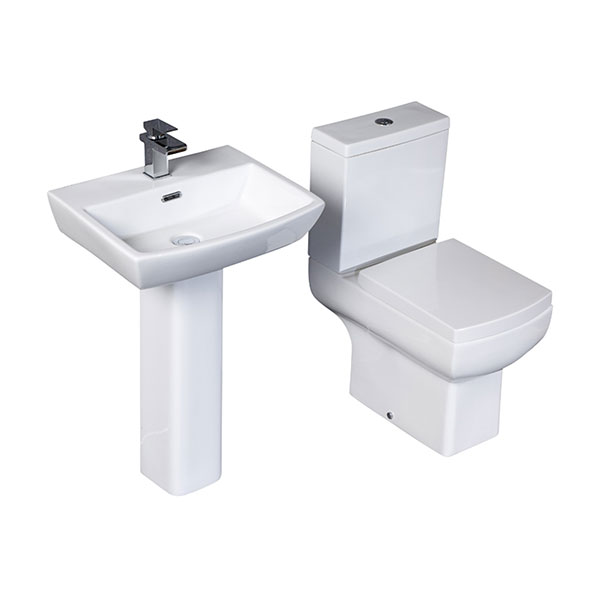 Cali Daisy Lou Value Bathroom Suite - Close Coupled Toilet - 1 Tap Hole Basin