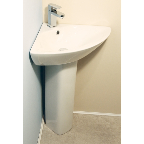 Cali Fair Corner Basin with Full Pedestal - 620mm Wide - 1 Tap Hole-1