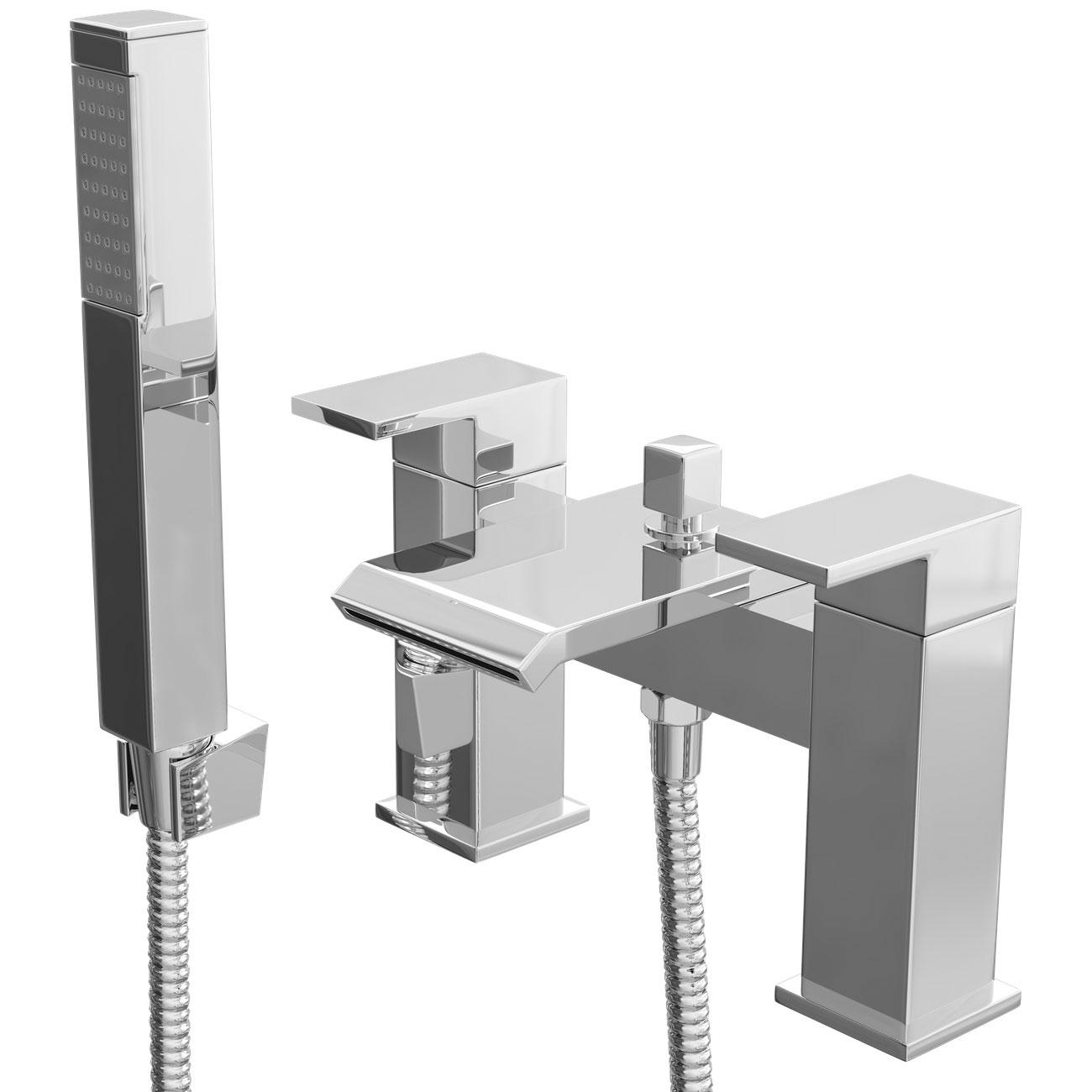 Cali Fazenda Waterfall Bath Shower Mixer Tap - Deck Mounted - Chrome