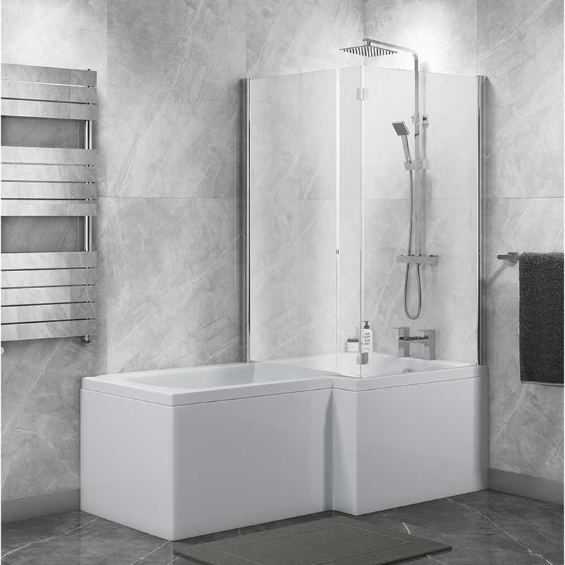 Cali Halle L-Shaped Shower Bath 1700mm with Side Panel and Bath Screen - Right Handed