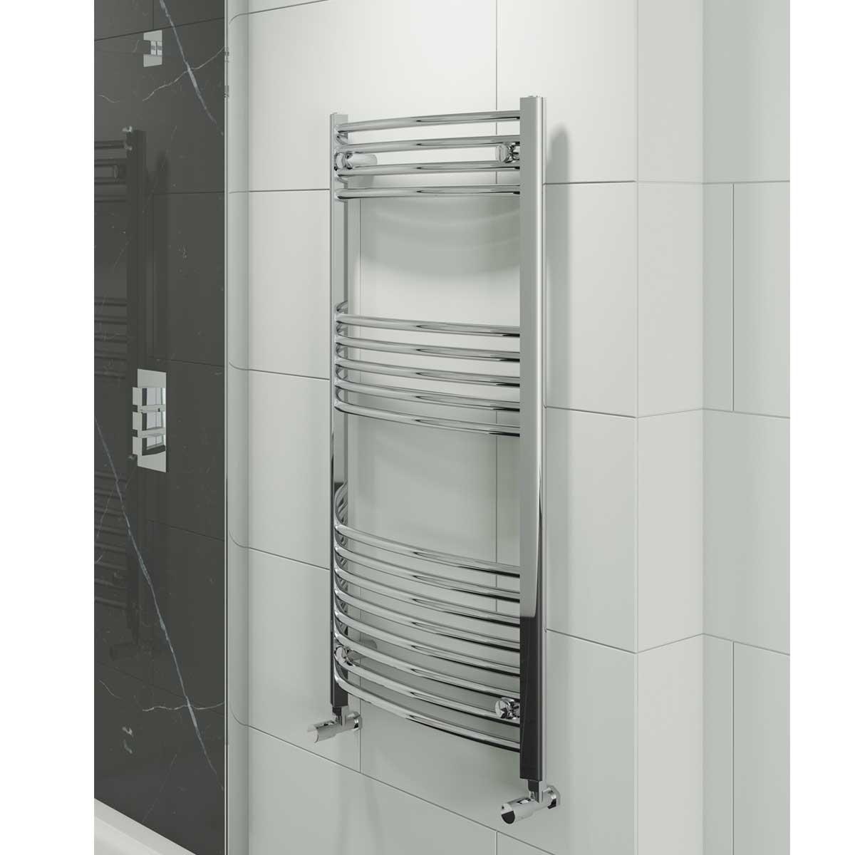 Cali Hayle Curved Heated Towel Rail 1000mm H x 500mm W Chrome