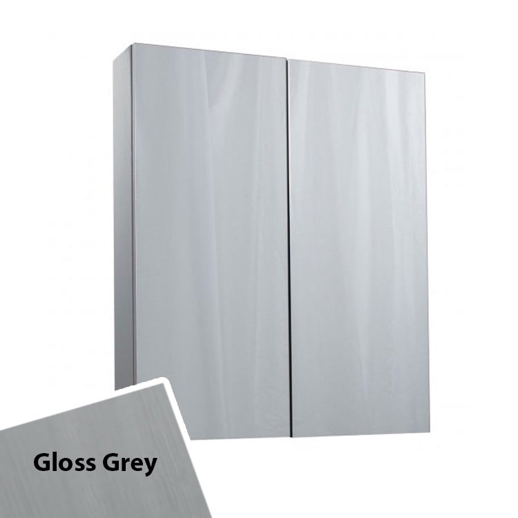 Cali Idon 2 Doors Wall Hung Mirror Cabinet - 600mm Wide - Grey