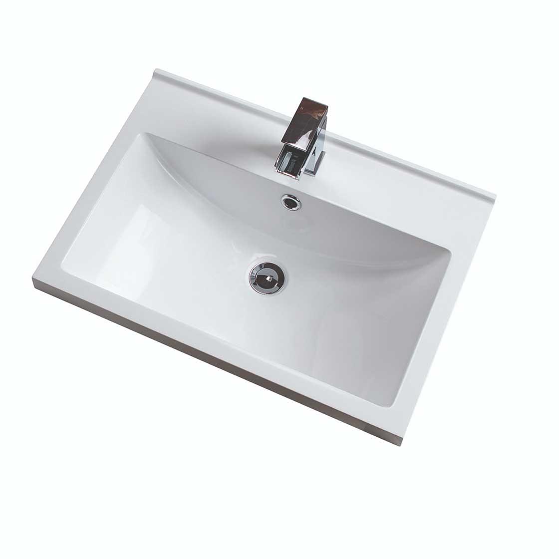 Cali Idon 2-Door Free Standing Vanity Unit with Basin - 600mm Wide - Gloss White