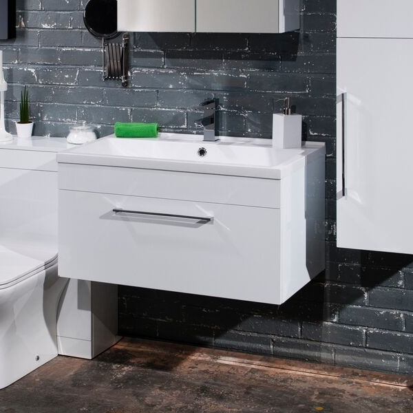 Cali Idon 1-Drawer Wall Hung Vanity Unit With Basin - 800mm Wide - Gloss White-0
