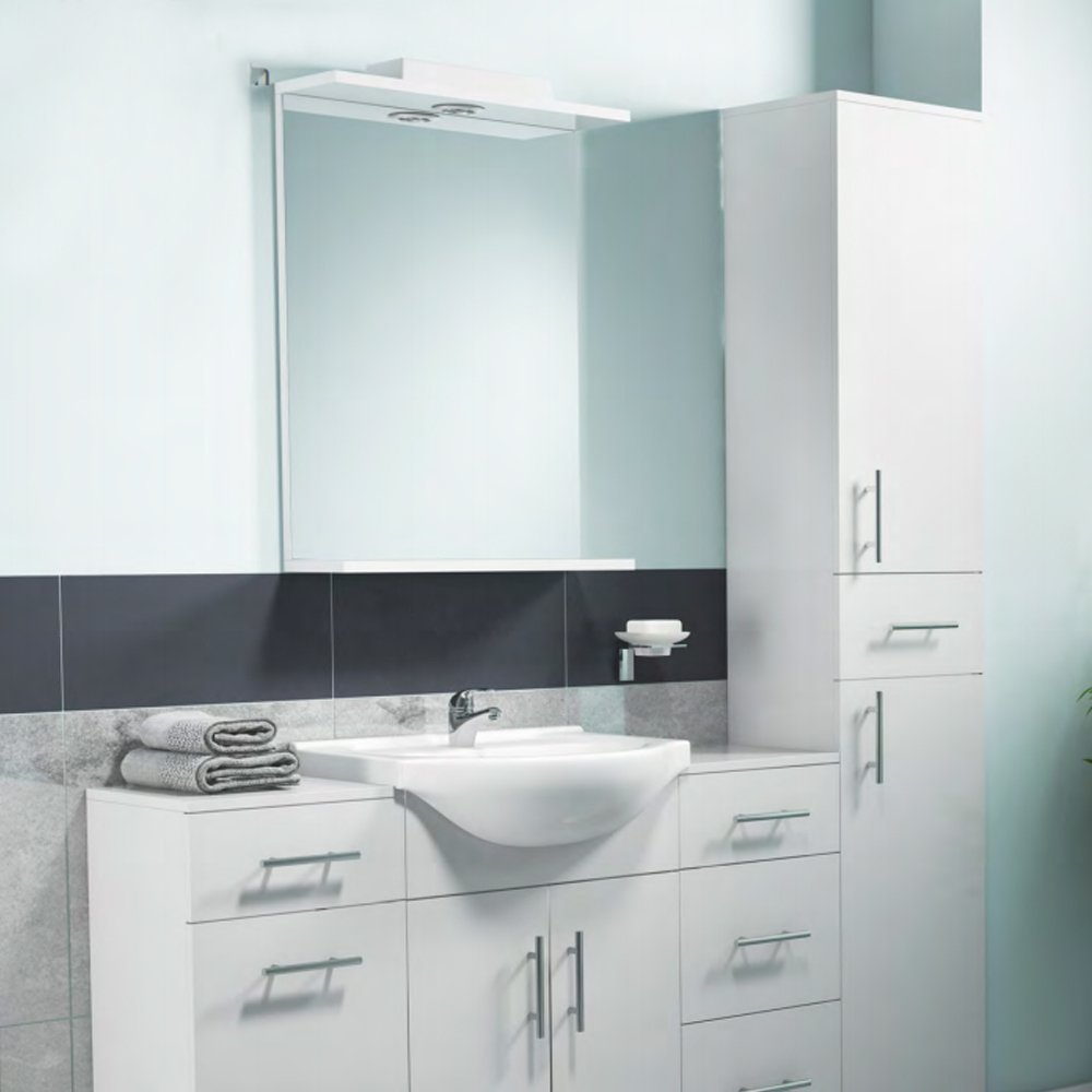 Cali Kass Mirror Unit and Lights - 550mm Wide - Gloss White
