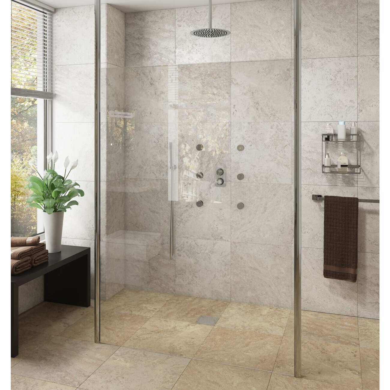 Cali Lana Free Standing Wet Room Screen 2000mm High x 970mm Wide - 10mm Glass Only