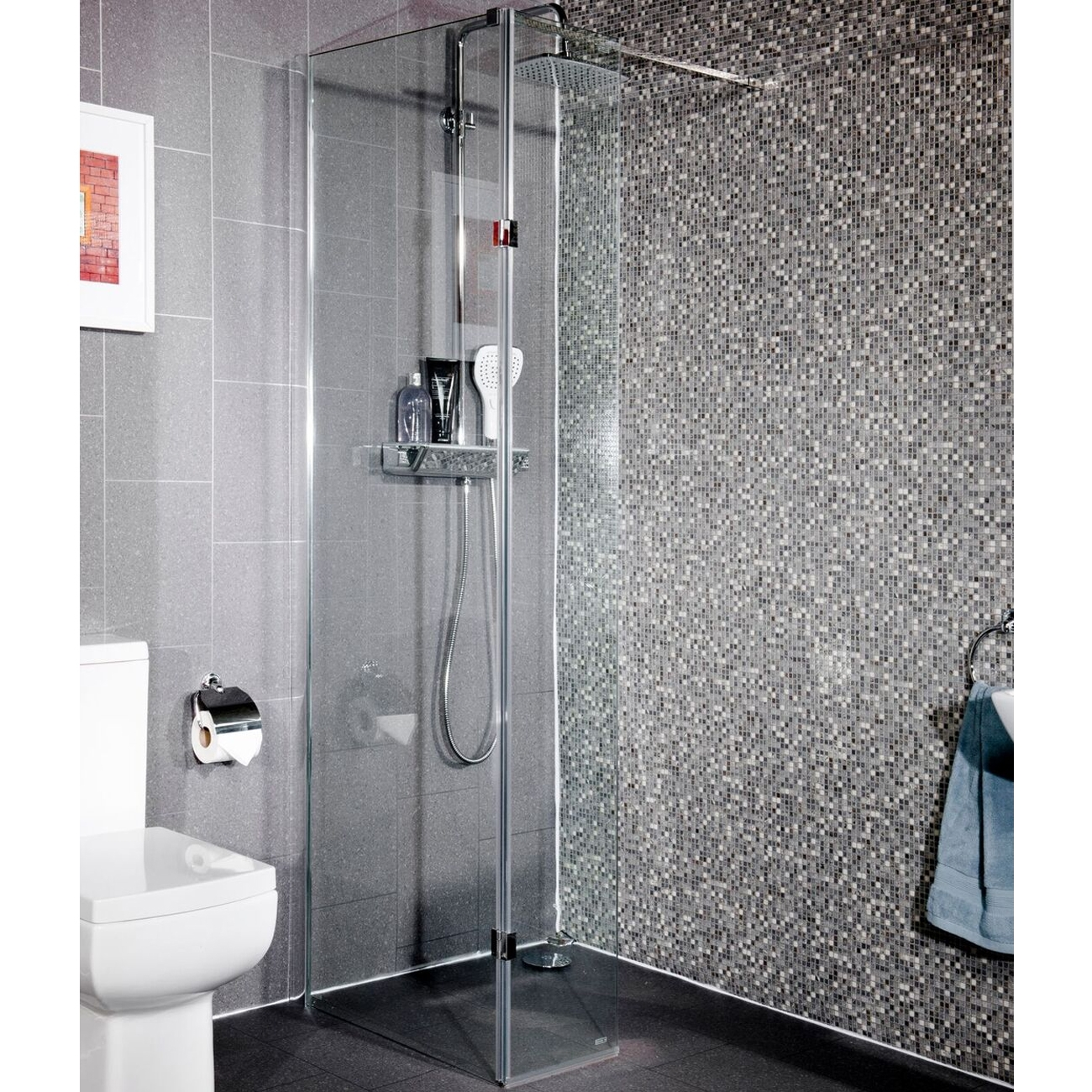 Cali Lana Easy Clean Wet Room Glass Panel 700mm Wide - 10mm Glass-1