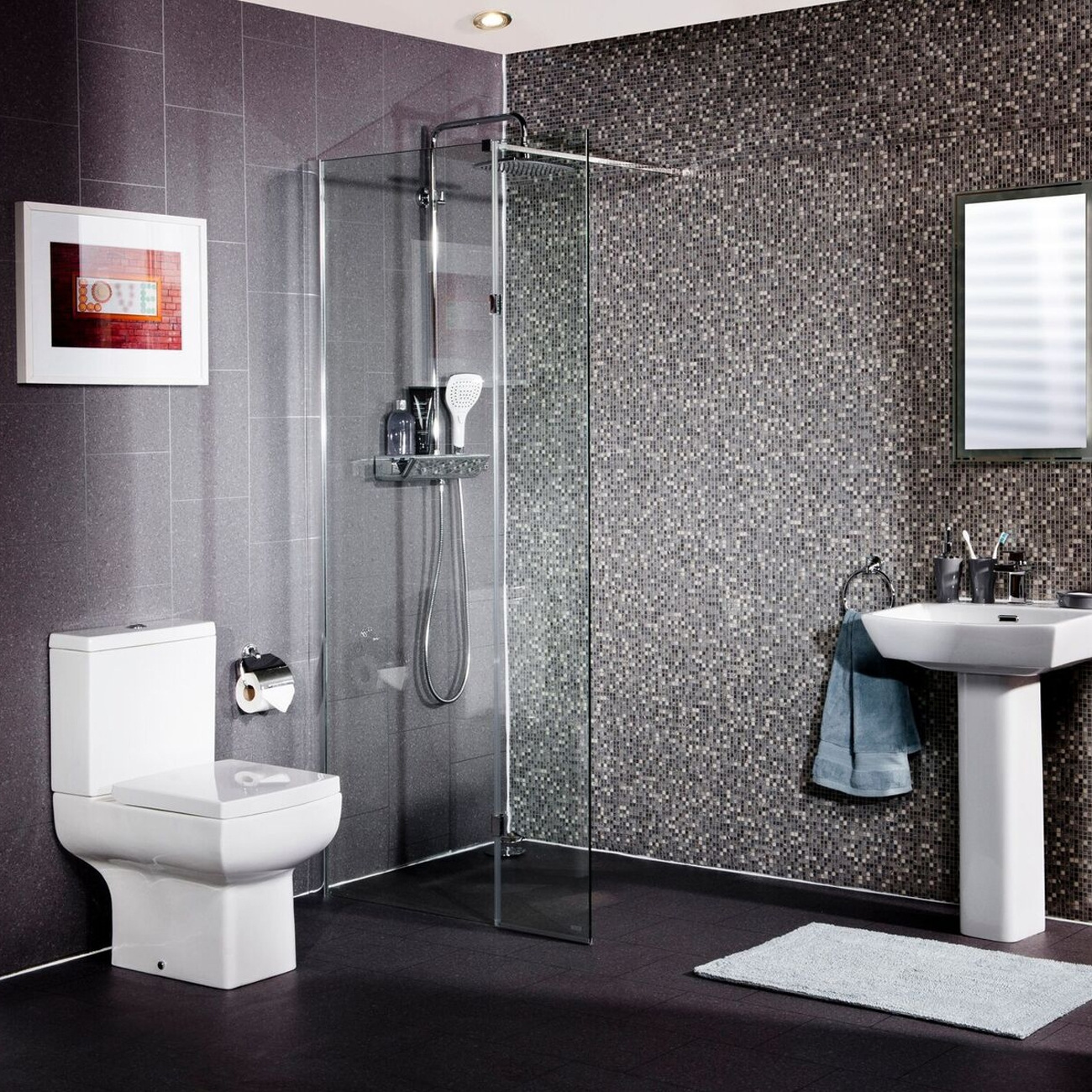 Cali Lana Easy Clean Wet Room Glass Panel 700mm Wide - 10mm Glass-2