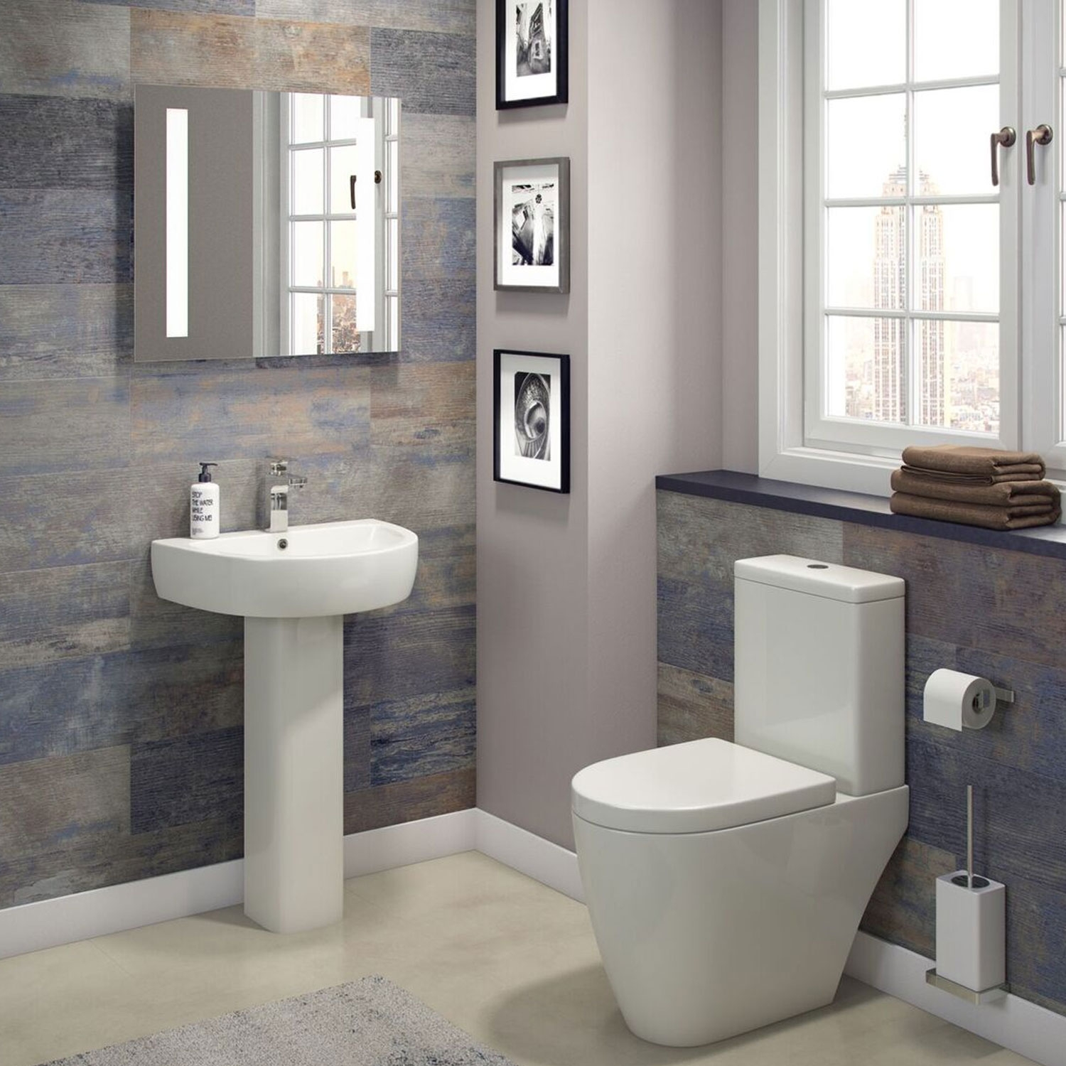 Cali Loxley Basin with Full Pedestal 560mm Wide - 1 Tap Hole-1