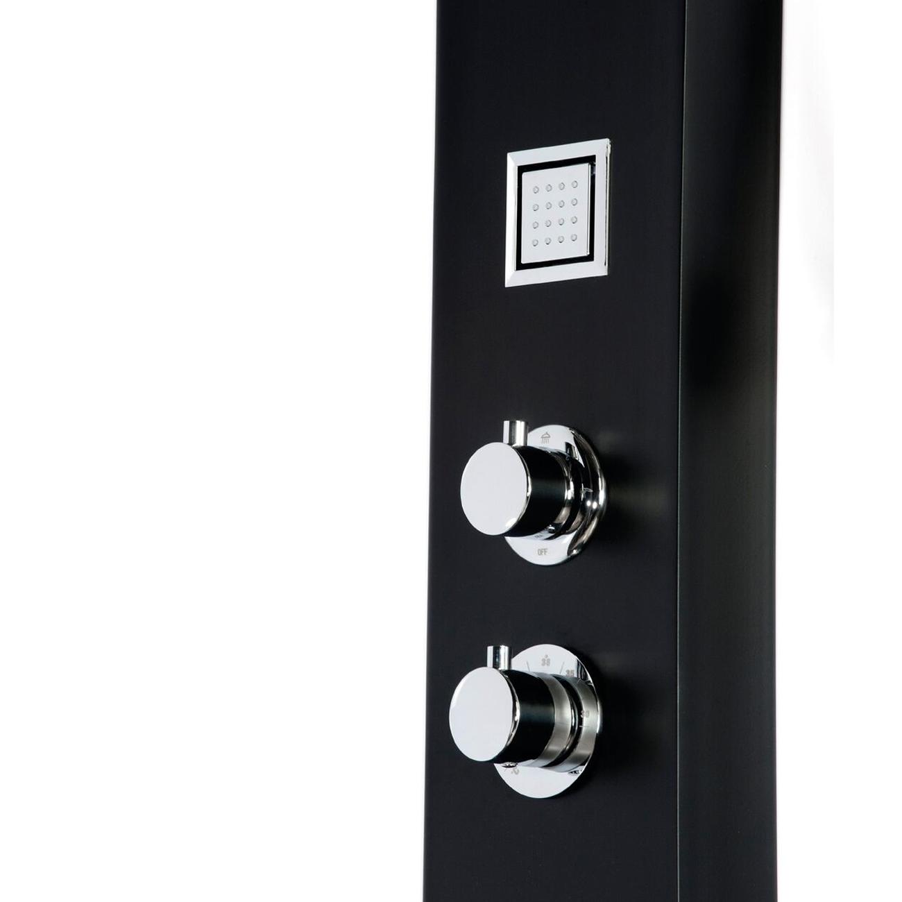 Cali Luna Thermostatic Shower Panel - Black-3