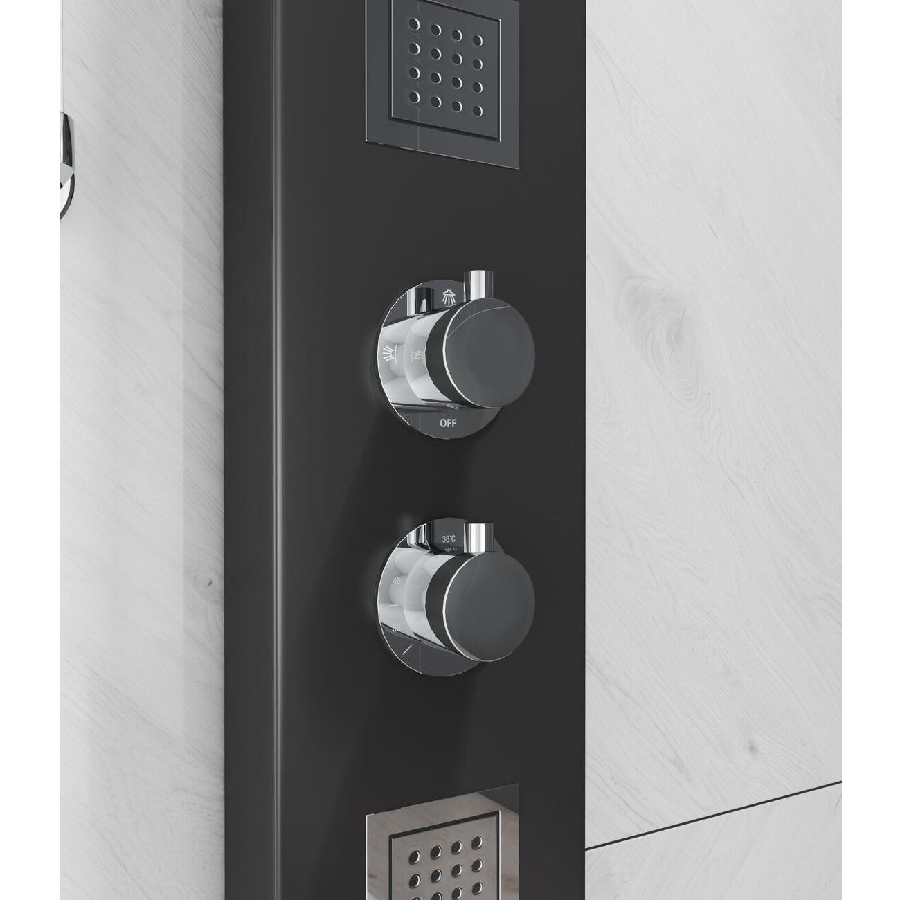 Cali Luna Thermostatic Shower Panel - Black-5