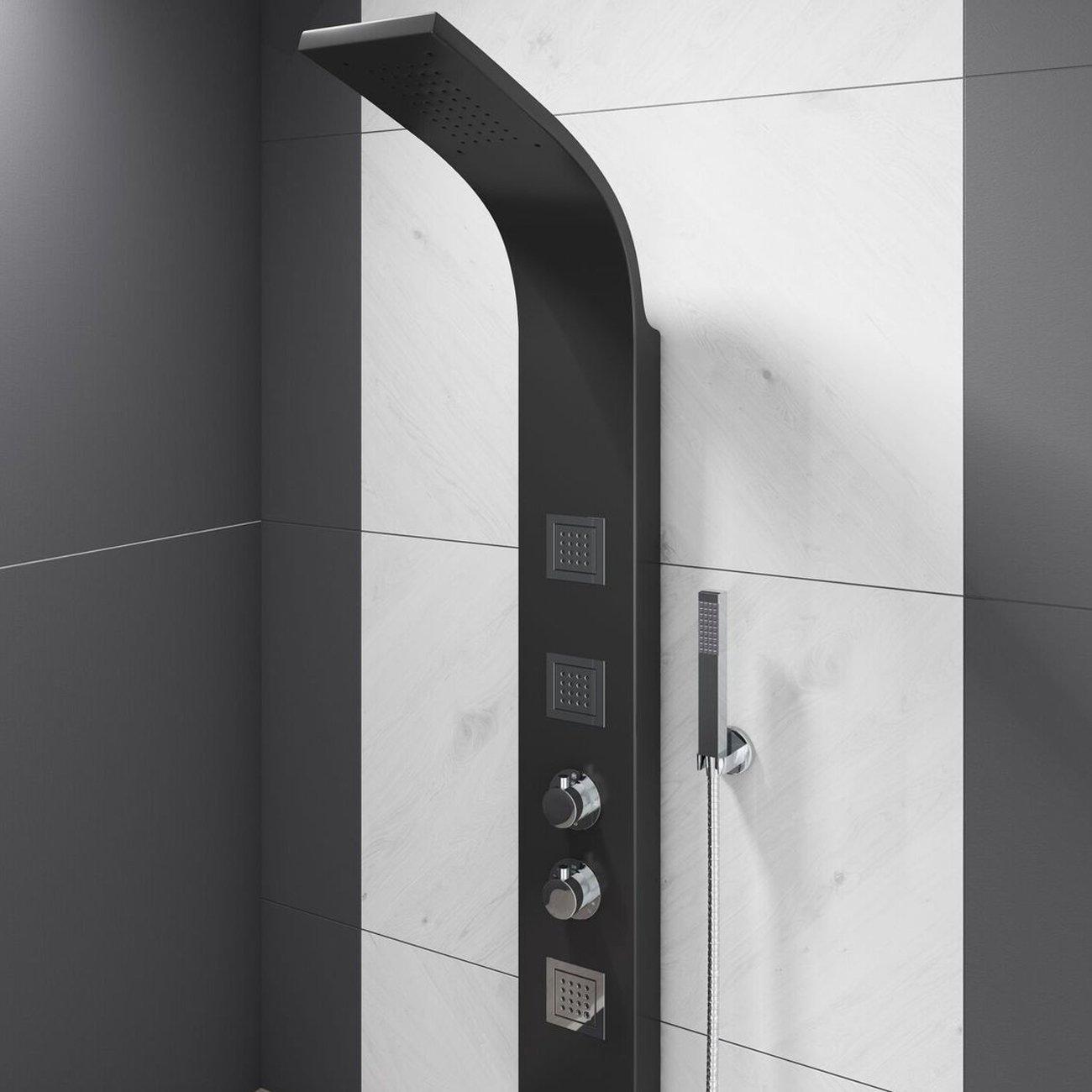 Cali Luna Thermostatic Shower Panel - Black-6