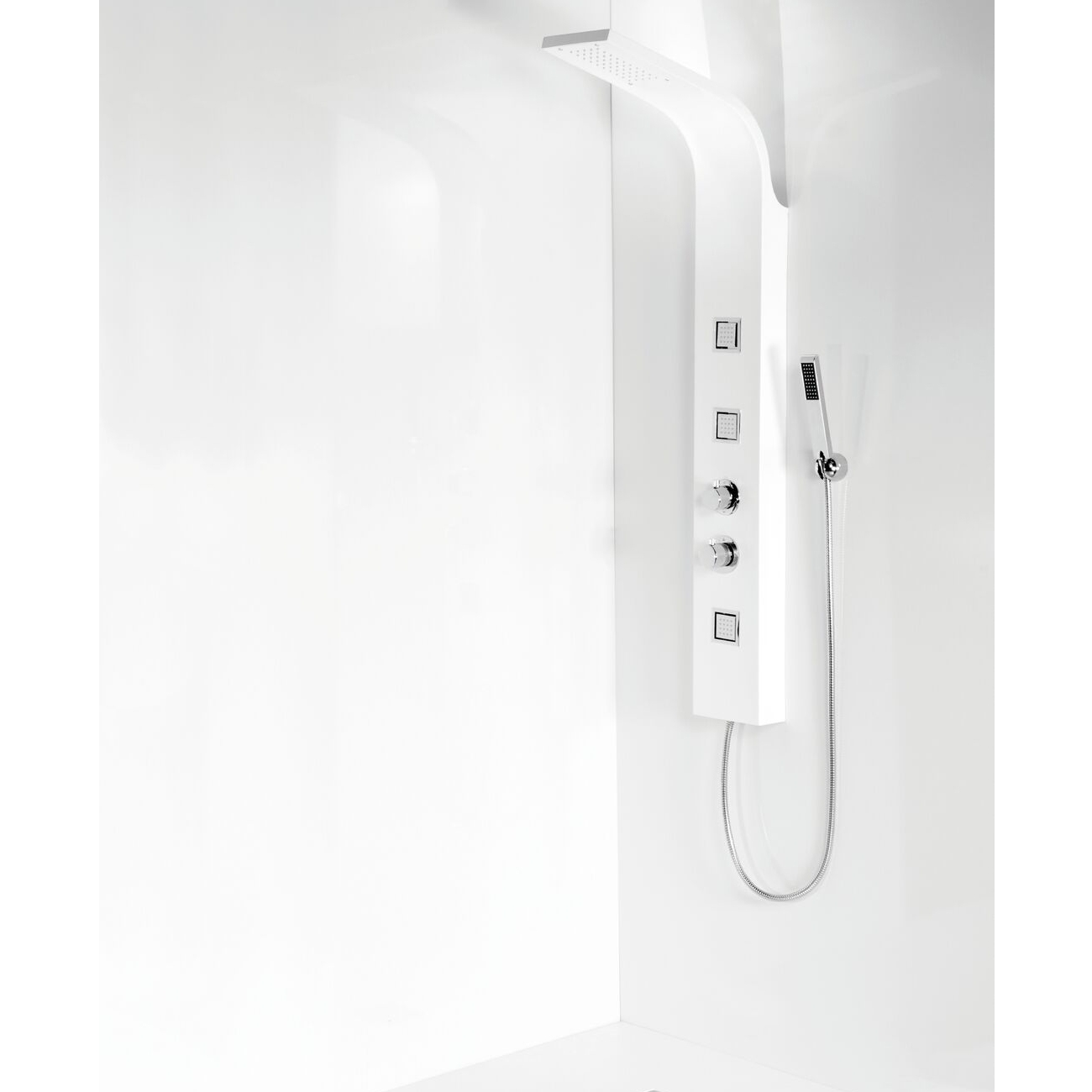 Cali Luna Thermostatic Shower Panel - White-2