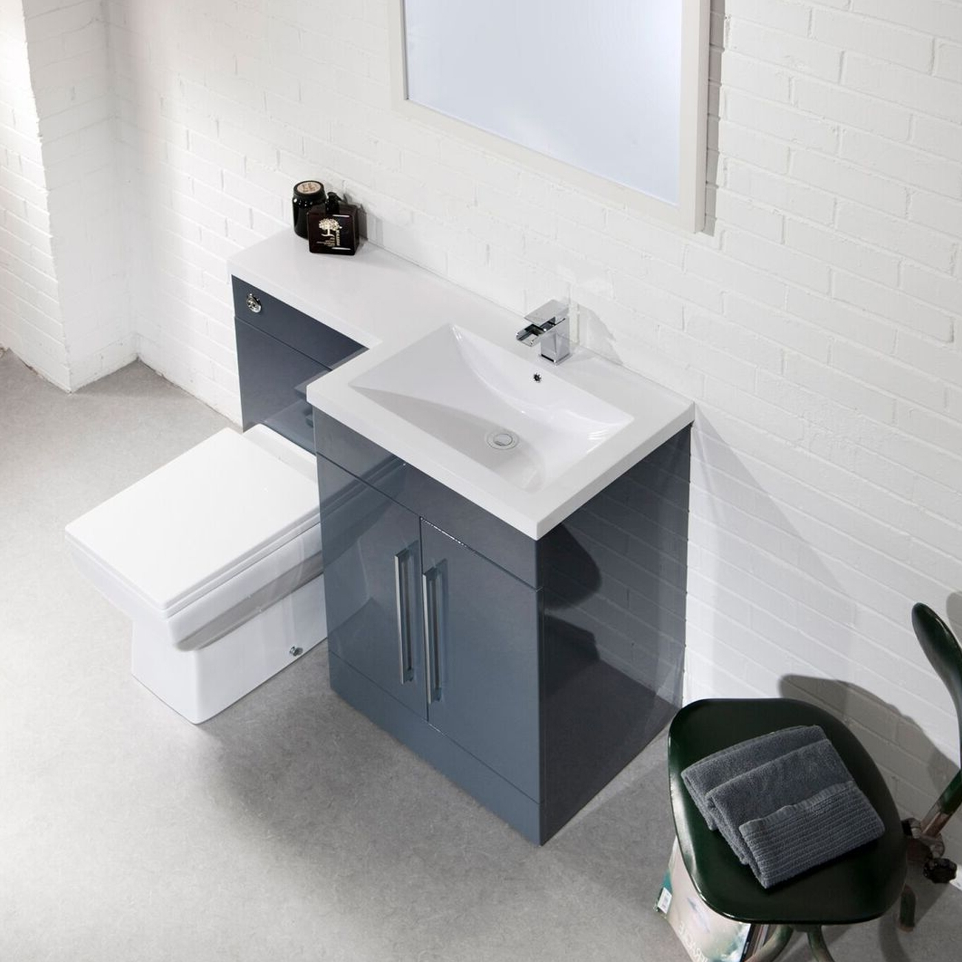 Cali Maze L Shaped Combination Unit with RH Mid Edge Basin - 1090mm Wide - Anthracite