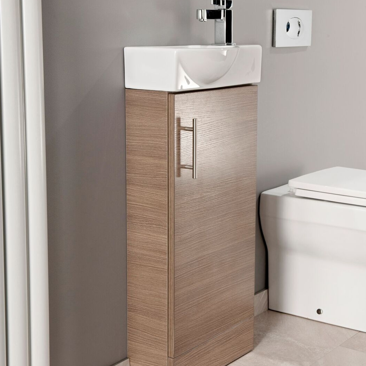 Cali Mini 1-Door Vanity Unit with Basin - 400mm Wide - Medium Oak-2