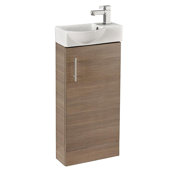 Cali Mini 1-Door Vanity Unit with Basin - 400mm Wide - Medium Oak-3