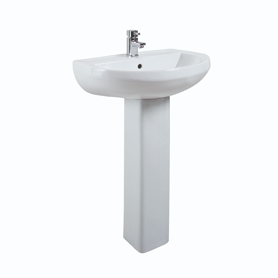 Cali Montego Basin with Full Pedestal - 500mm Wide - 1 Tap Hole