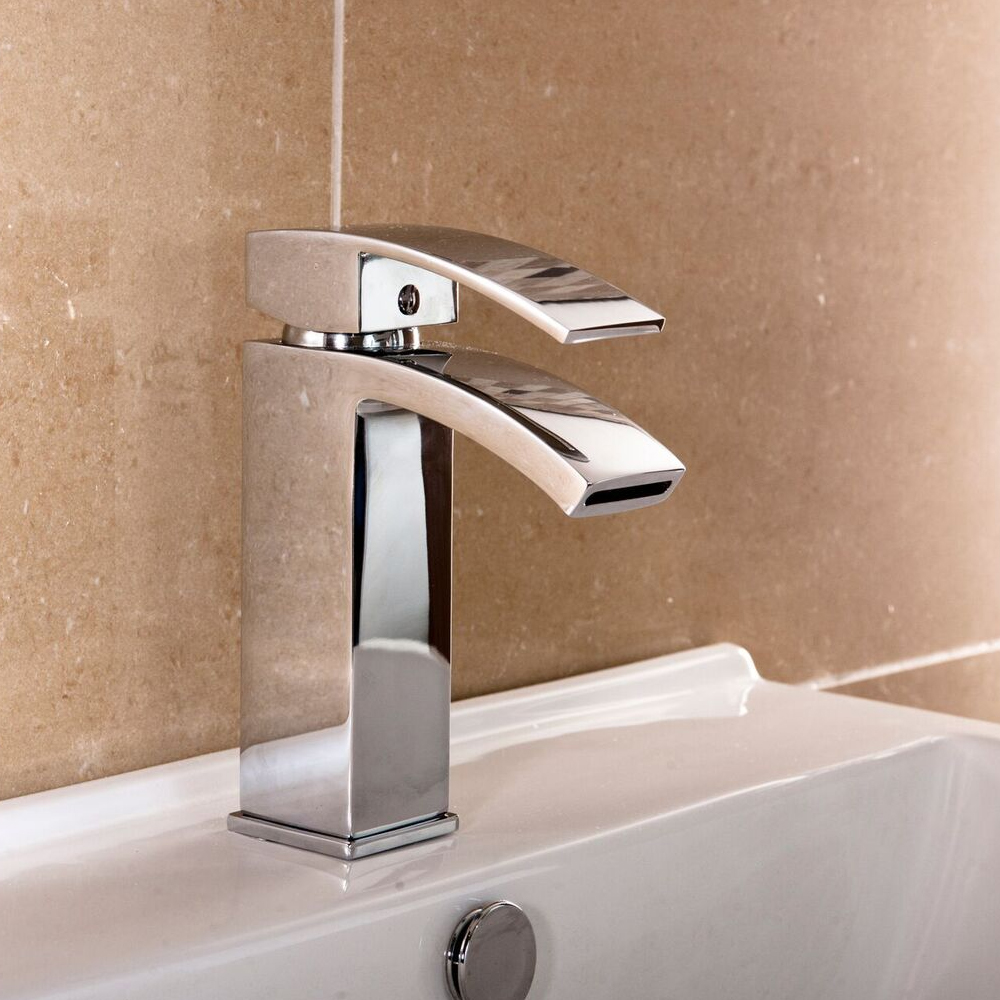 Cali Peak Waterfall Mono Basin Mixer Tap Deck Mounted with Click Clack Waste - Chrome