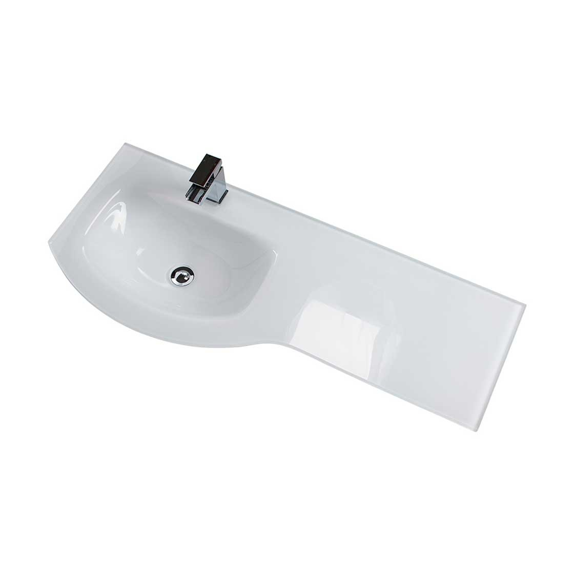 Cali Pebble D Shaped Combination Unit with Left Handed Basin - 1100mm Wide - White Glass Basin