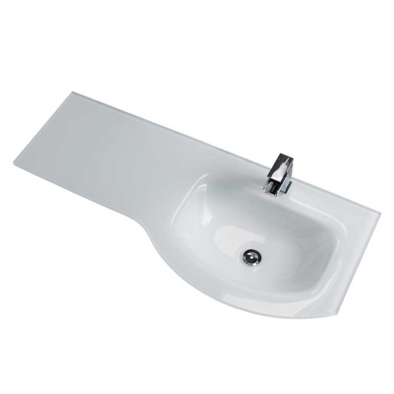 Cali Pebble D Shaped Combination Unit with Right Handed Basin - 1100mm Wide - White Glass Basin