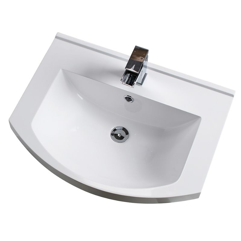 Cali Pebble D Shaped Floor Standing Vanity Unit with Basin - 600mm Wide - Gloss White