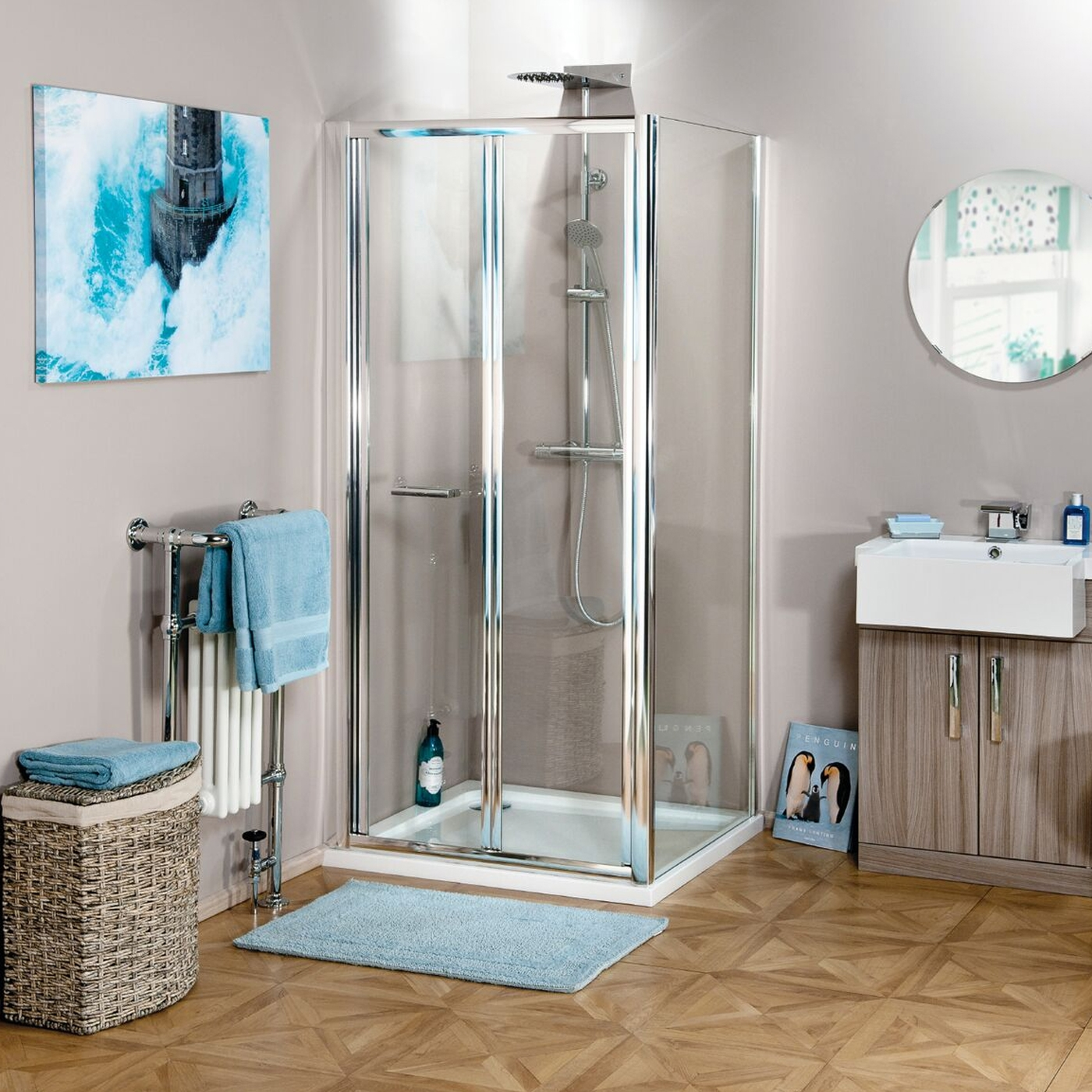 Cali Seis Bi-Fold Shower Door - 700mm Wide - 4mm Glass-1