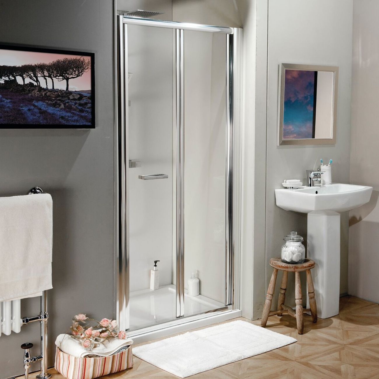 Cali Seis Bi-Fold Shower Door - 700mm Wide - 4mm Glass