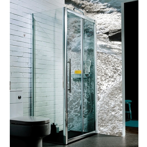 Cali Seis Sliding Shower Door - 1000mm Wide - 8mm Glass-1