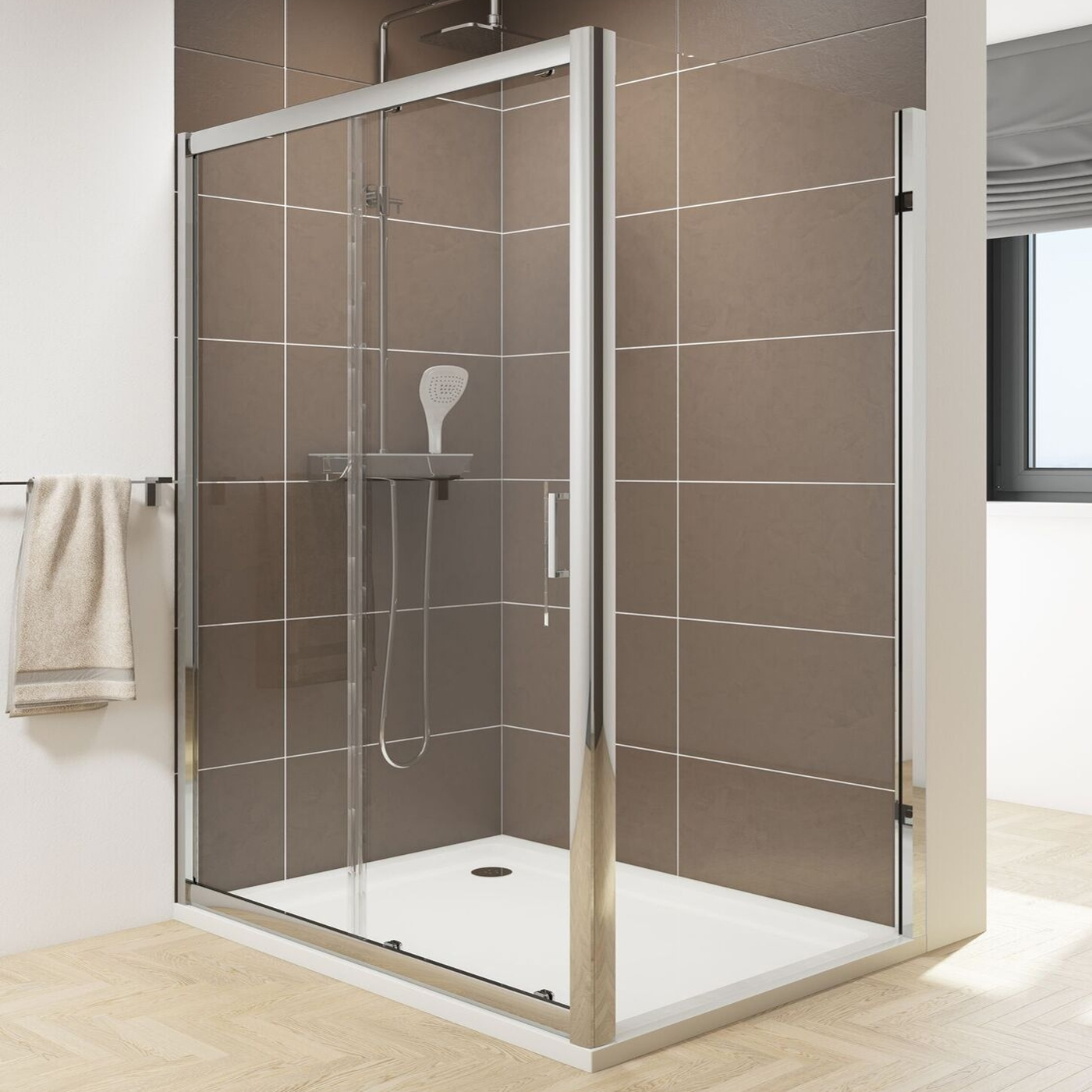 Cali Seis Sliding Shower Door - 1000mm Wide - 6mm Glass