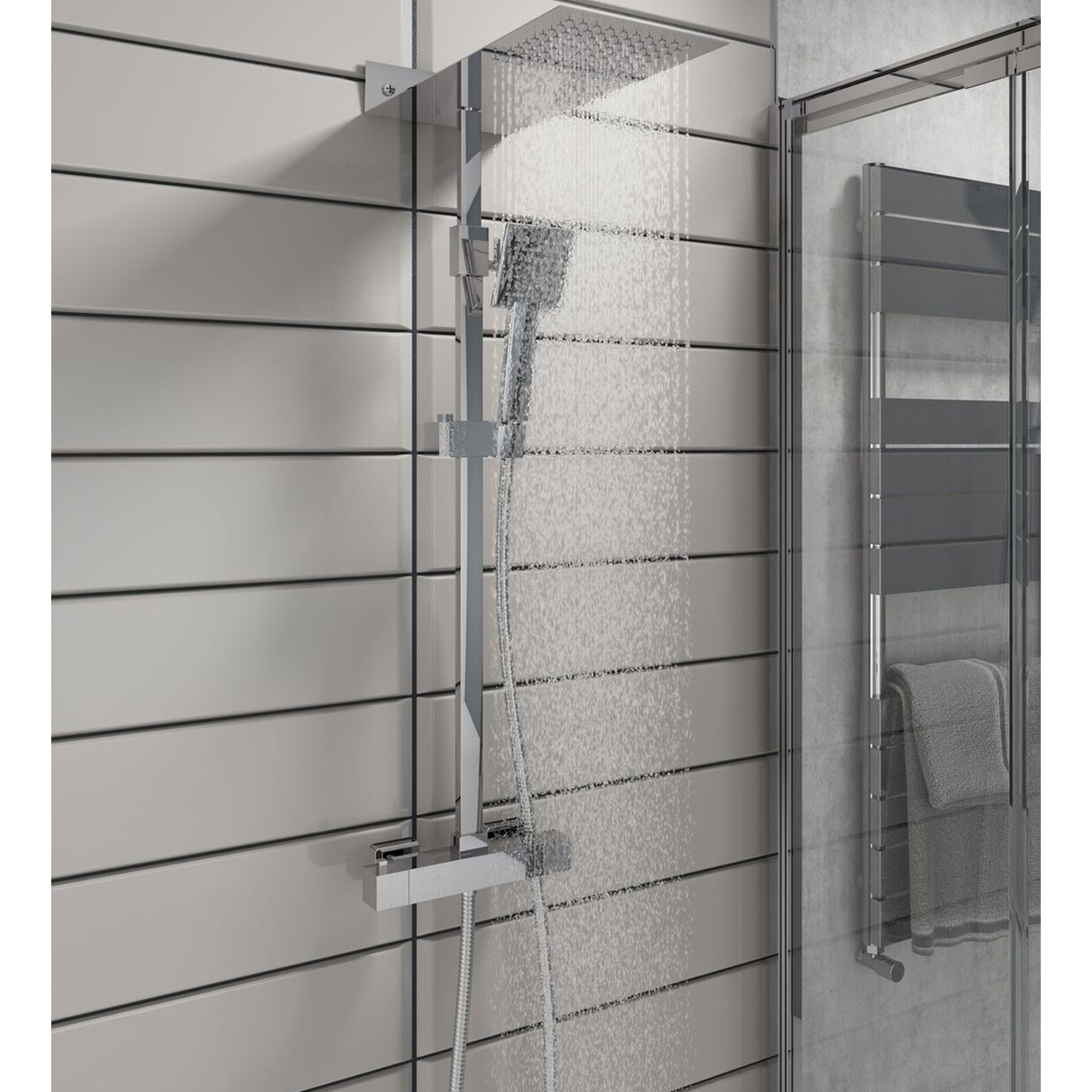 Cali Square Bar Mixer Shower with Shower Kit + Fixed Head