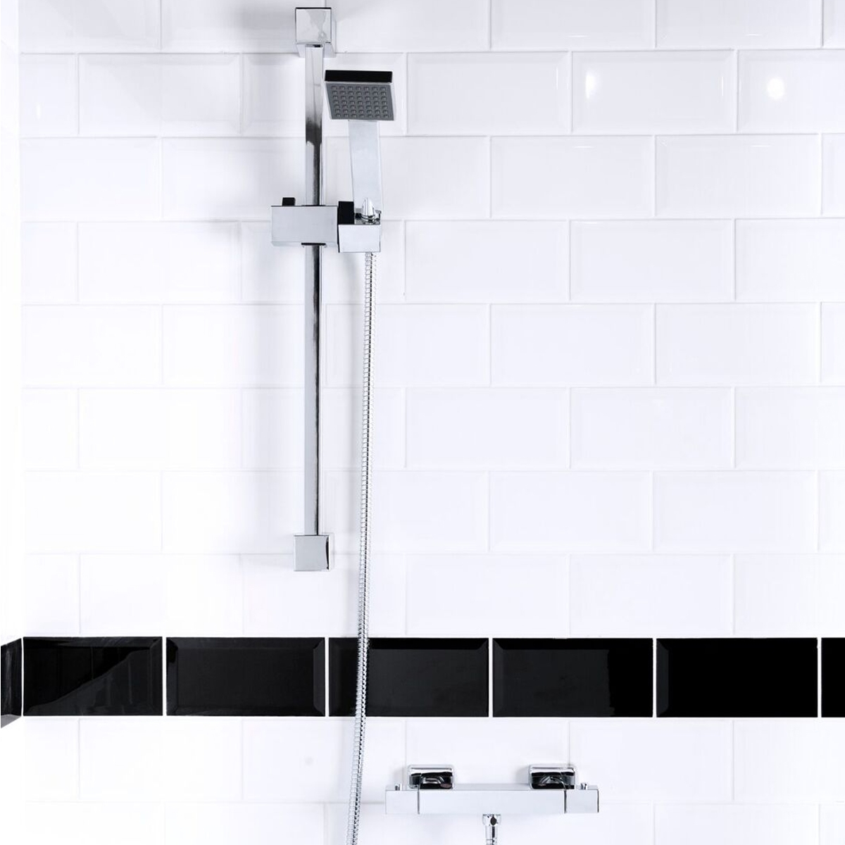 Cali Square Slide Shower Rail Kit - Chrome