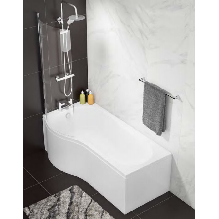 Cali Curved Bath Screen - 1400mm High X 695mm Wide - 6mm Glass-0
