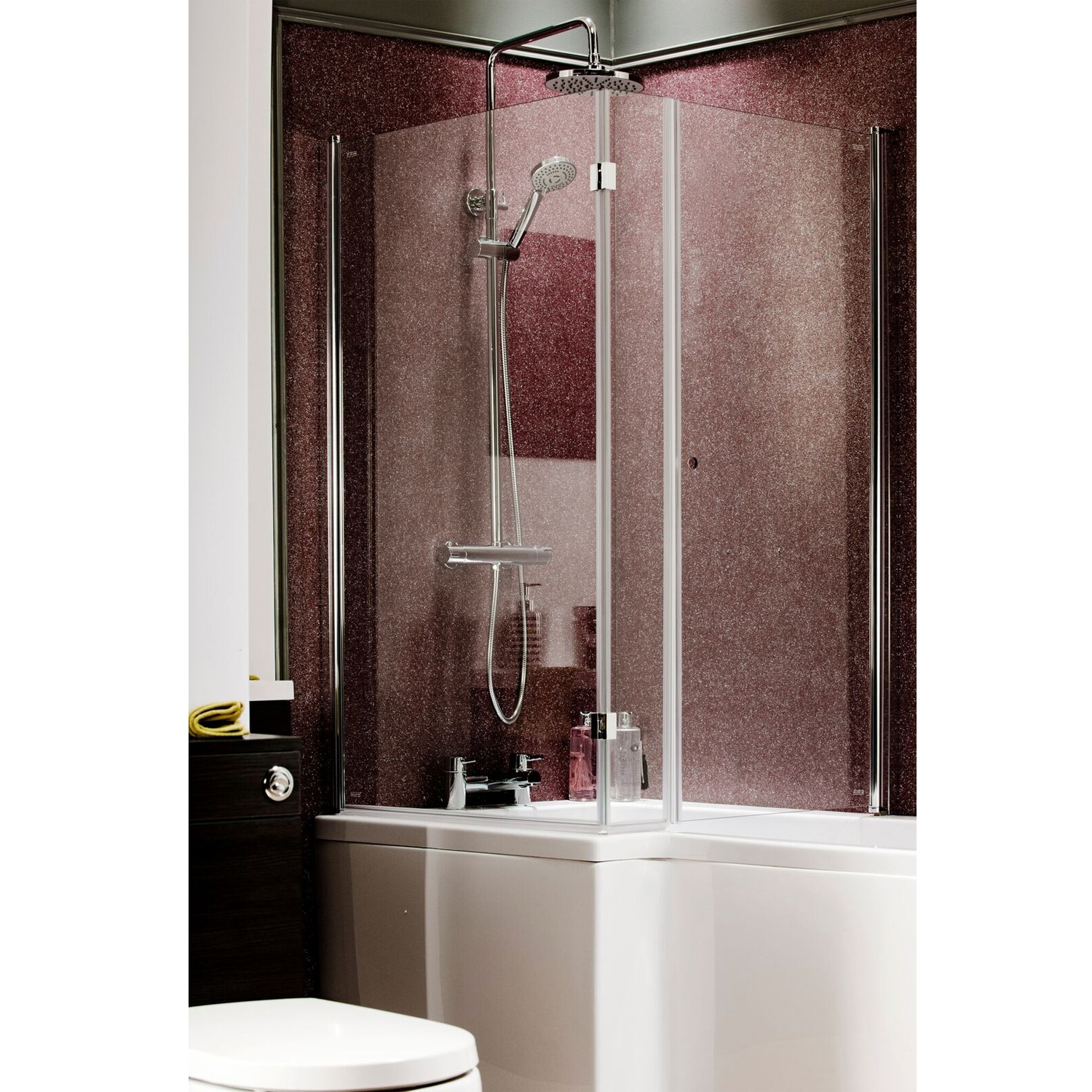 Cali Hinged Return Bath Screen with Cutout Handle 1400 x 620mm - 6mm Glass