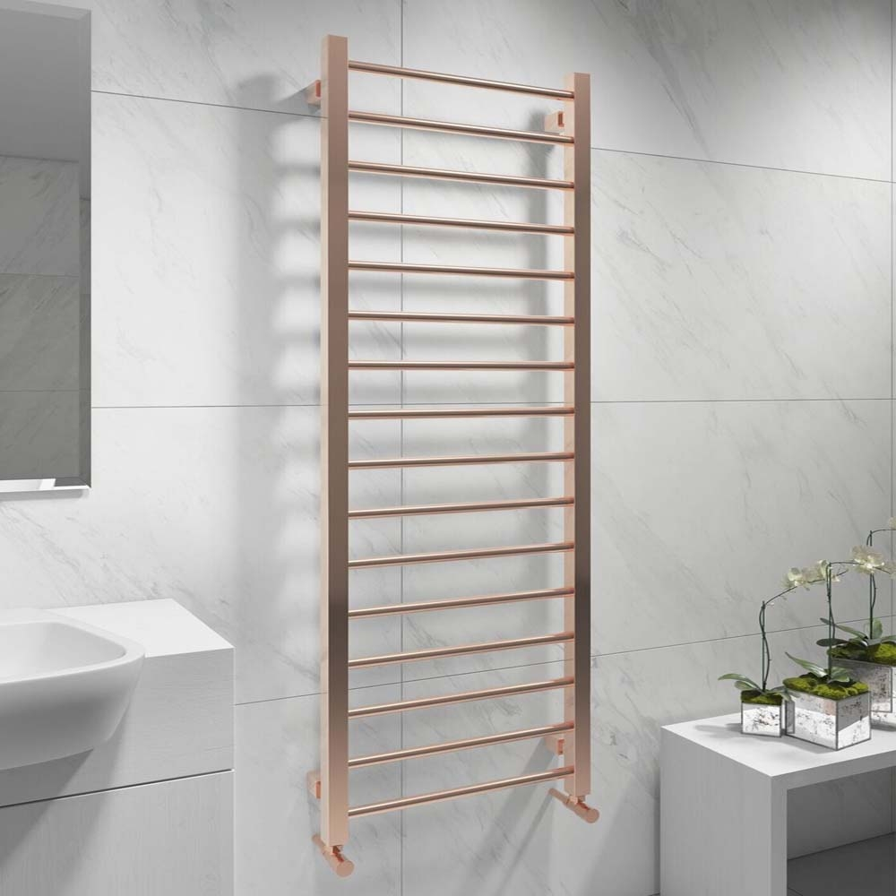 Cali Straight Heated Towel Rail 1200mm H x 500mm W - Rose Gold