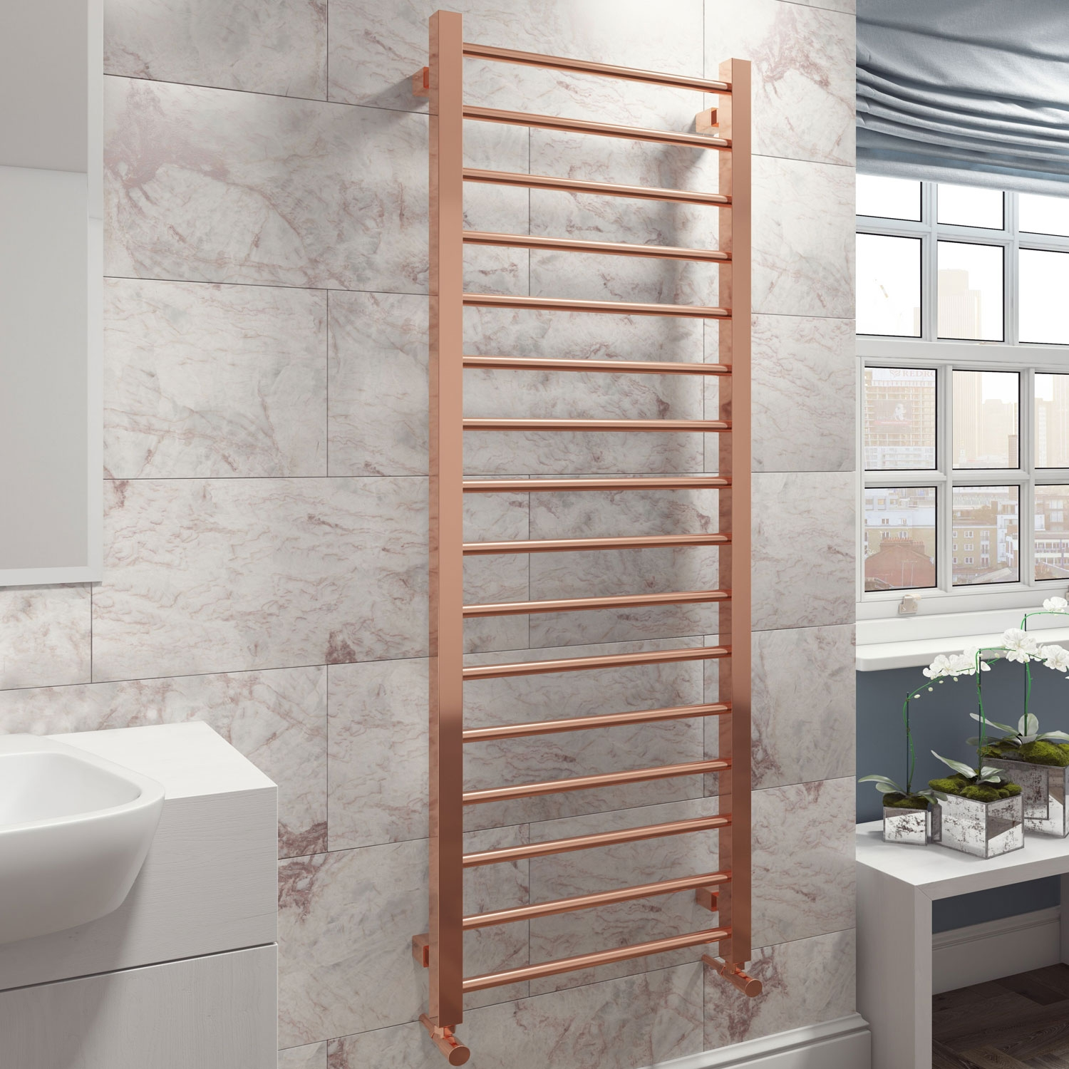 Cali Straight Heated Towel Rail 1600mm H x 500mm W - Rose Gold