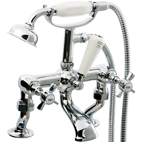 Cali Time Traditional Cranked Bath Shower Mixer Tap - Deck Mounted - Chrome