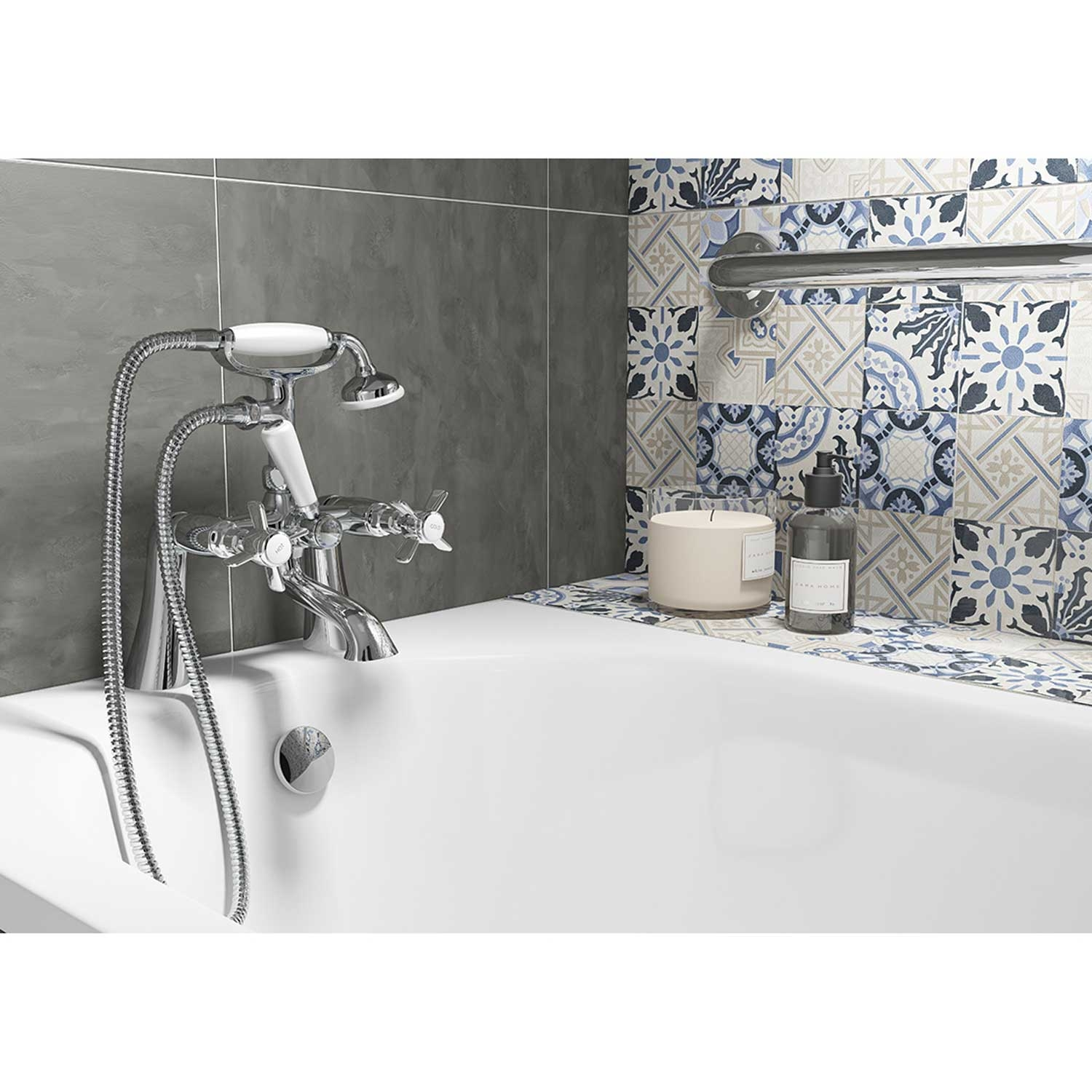 Cali Time Traditional Bath Shower Mixer Tap - Deck Mounted - Chrome-0