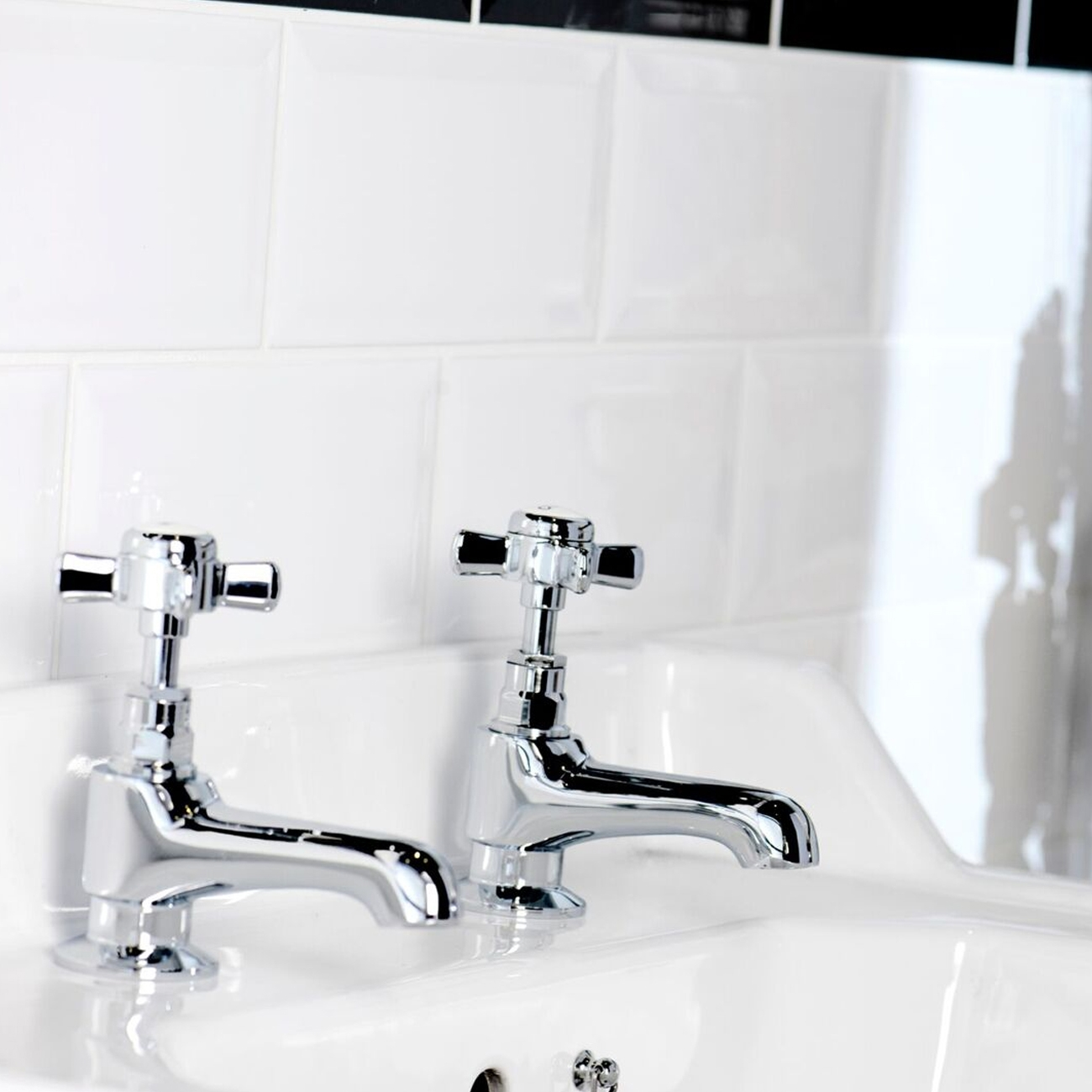 Cali Time Traditional Bath Pillar Taps - Pair - Chrome-0