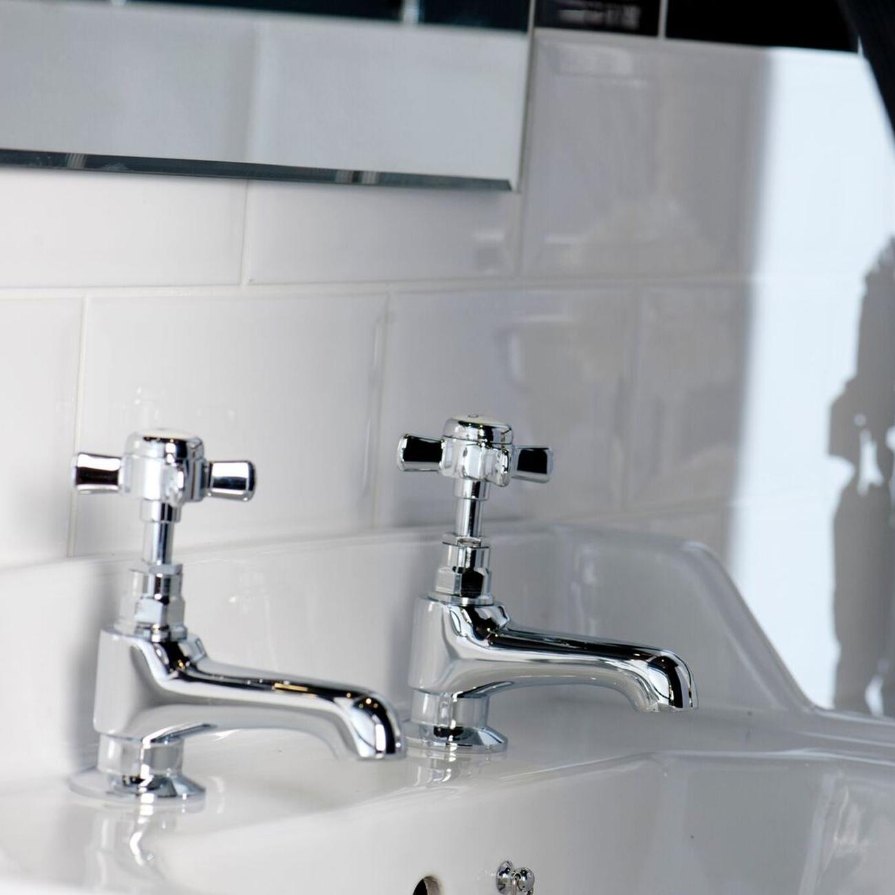 Cali Time Traditional Bath Pillar Taps - Pair - Chrome-1