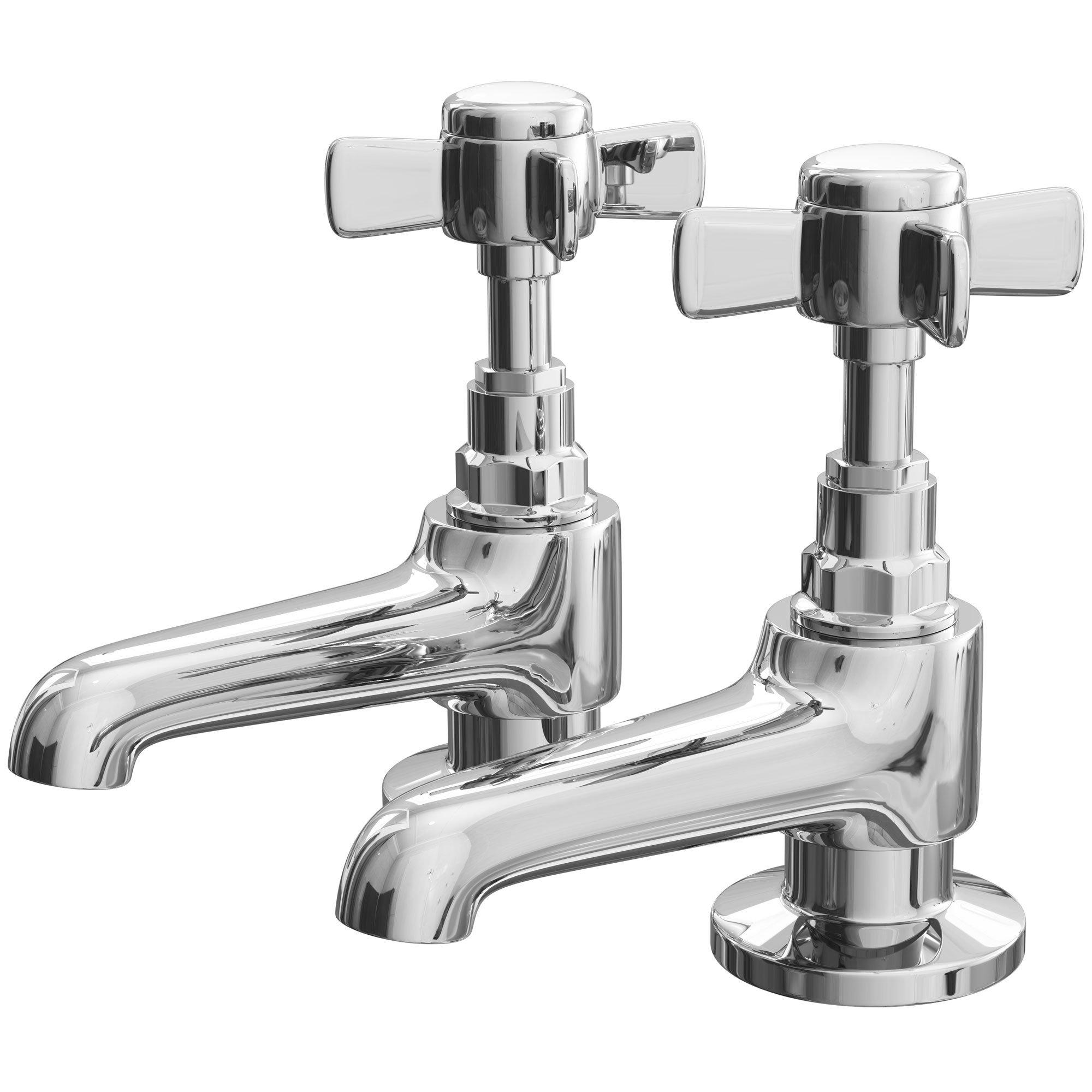 Cali Time Traditional Bath Pillar Taps - Pair - Chrome-2