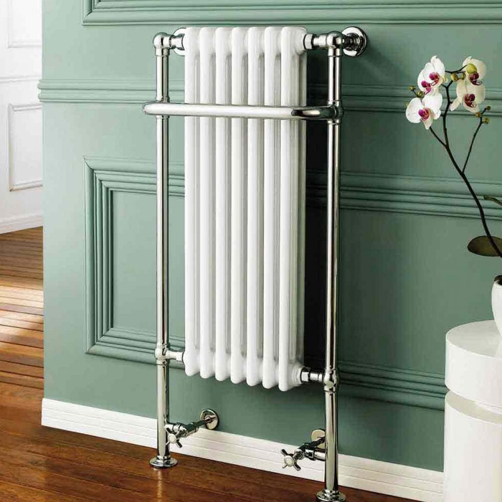 Cali Traditional Heated Radiator Towel Rail - 1130mm High x 553mm Wide - Chrome/White-0