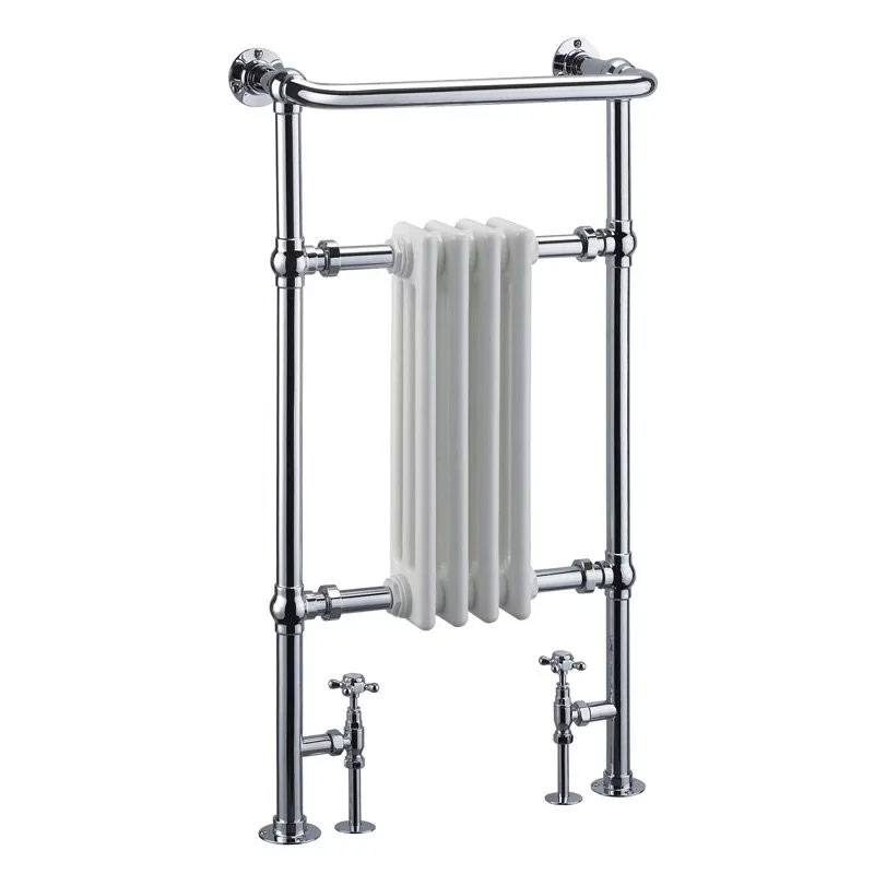 Cali Traditional Heated Radiator Towel Rail - 965mm High x 495mm Wide - Chrome/White
